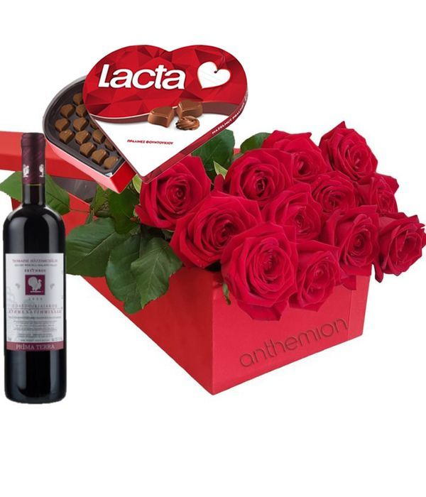 Red roses, chocolates and wine in gift box