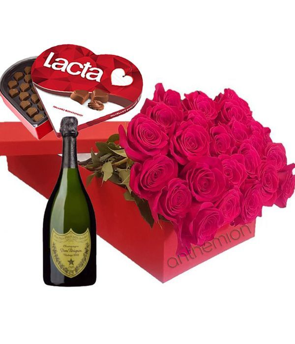 Dom Perignon with roses in gift box