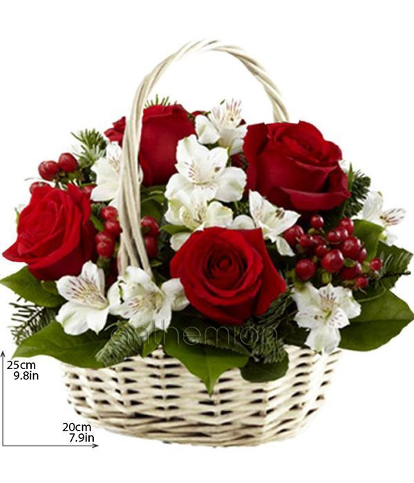 Καλάθι με κόκκινα και λευκά λουλούδια