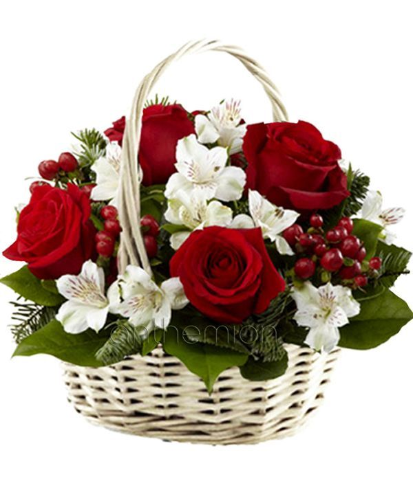 Red and white flowers in basket