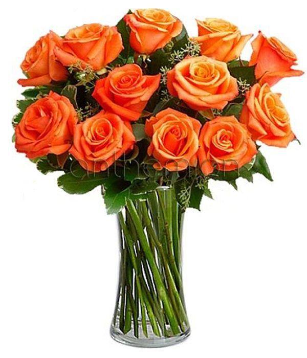 Μπουκέτο με 12 πορτοκαλί τριαντάφυλλα