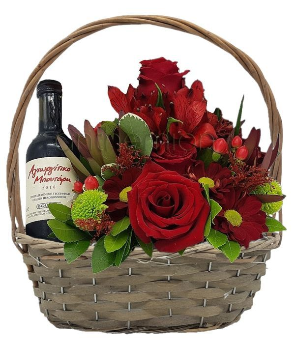 Floral arrangement with wine