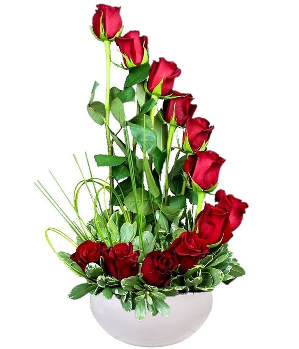 Stylish tall rose arrangement