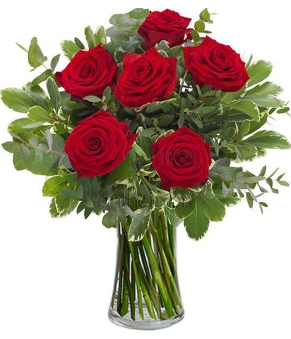 Μπουκέτο με 6 κόκκινα τριαντάφυλλα
