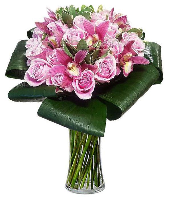 Μπουκέτο με τριαντάφυλλα και ορχιδέες σιμπίντιουμ