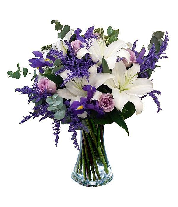 Μπουκέτο με λίλιουμ, τριαντάφυλλα και ίριδες
