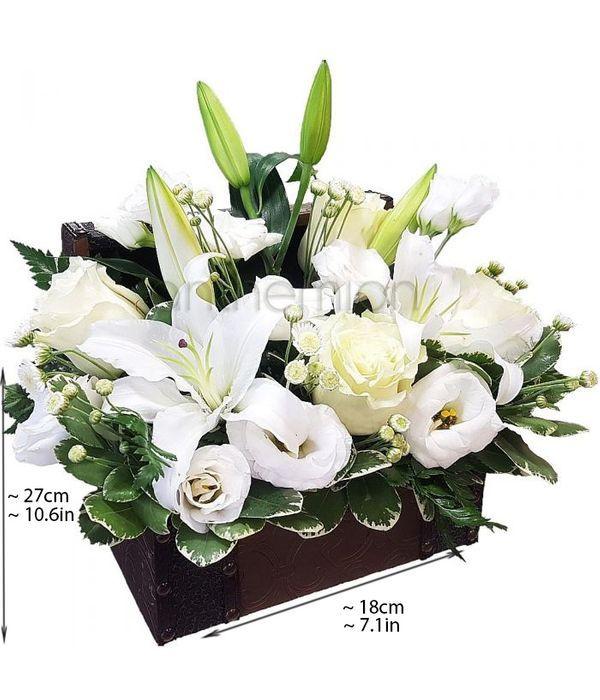 White flowers in keepsake trunk