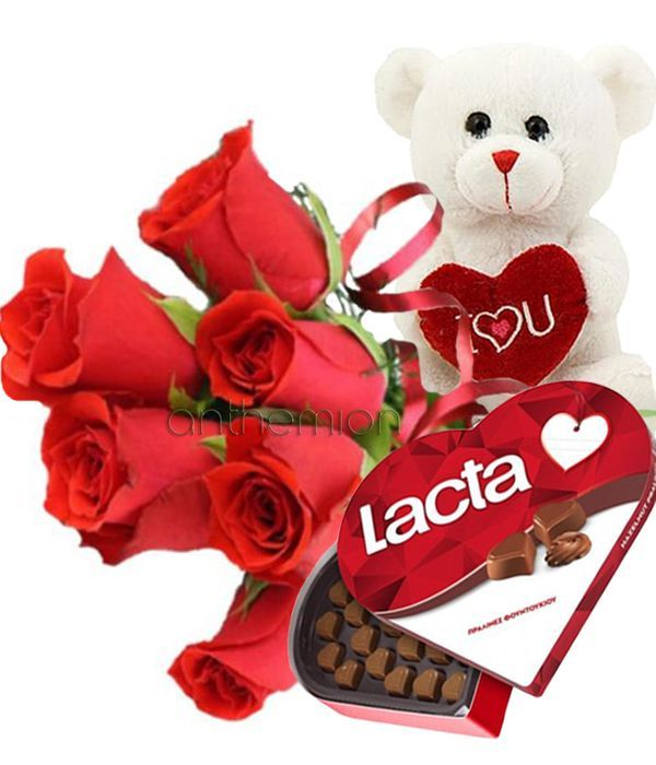 Chocolate, red roses and a teddy bear, the perfect gift