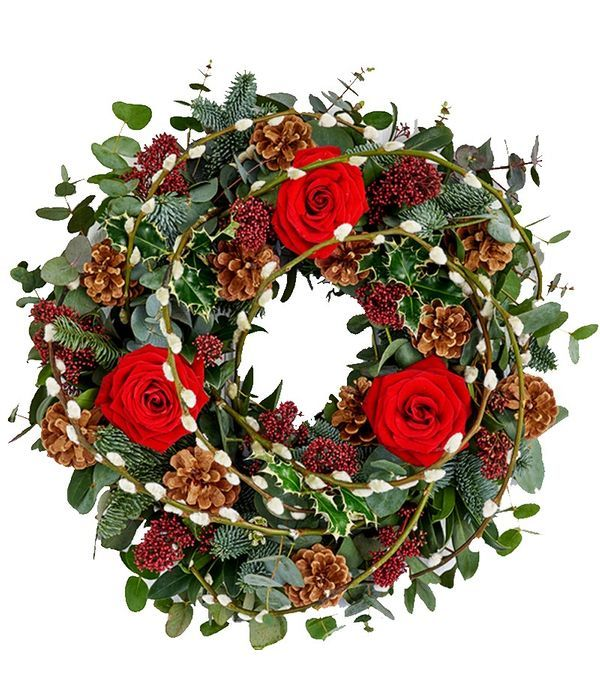 Christmas wreath with roses