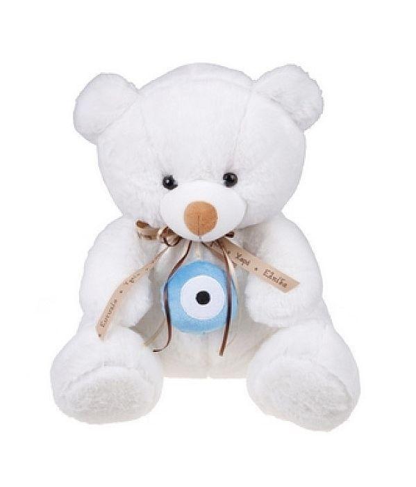 Αρκουδάκι με σιέλ ματάκι 18εκ