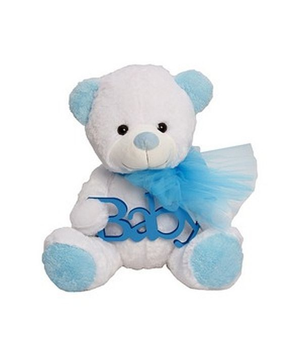 Αρκουδάκι λούτρινο BABY για νεογέννητο αγοράκι