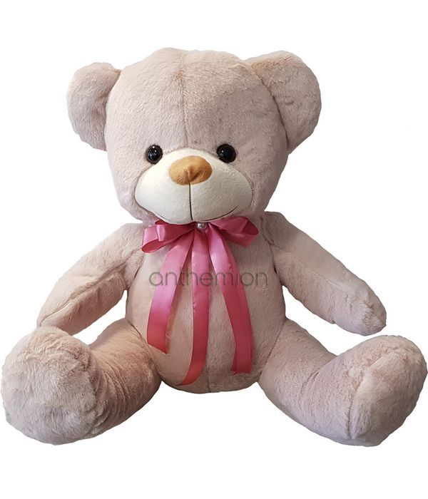 Αρκουδάκι 45εκ ροζ/σωμον με φιόγκο ροζ