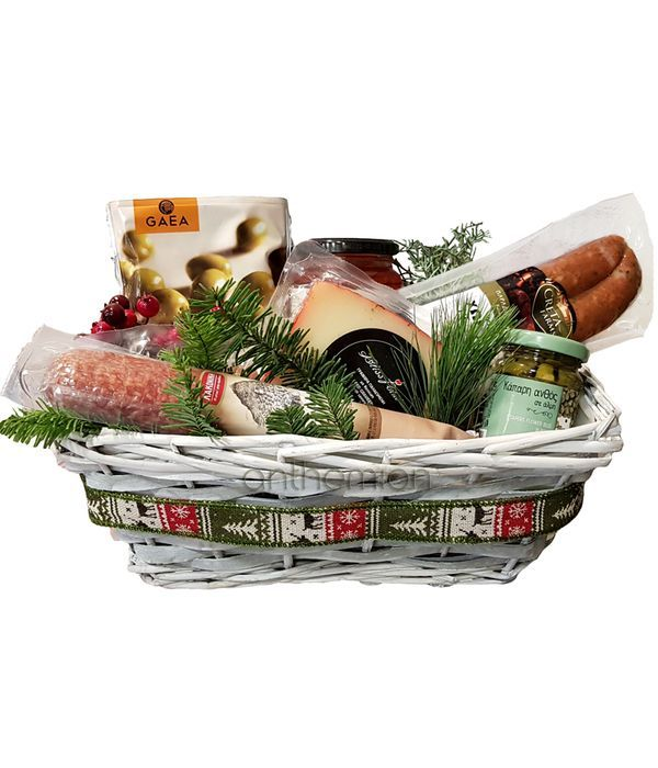Basket with salty delicacies