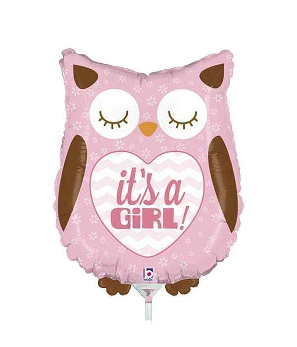 Balloon foil owl it's a girl