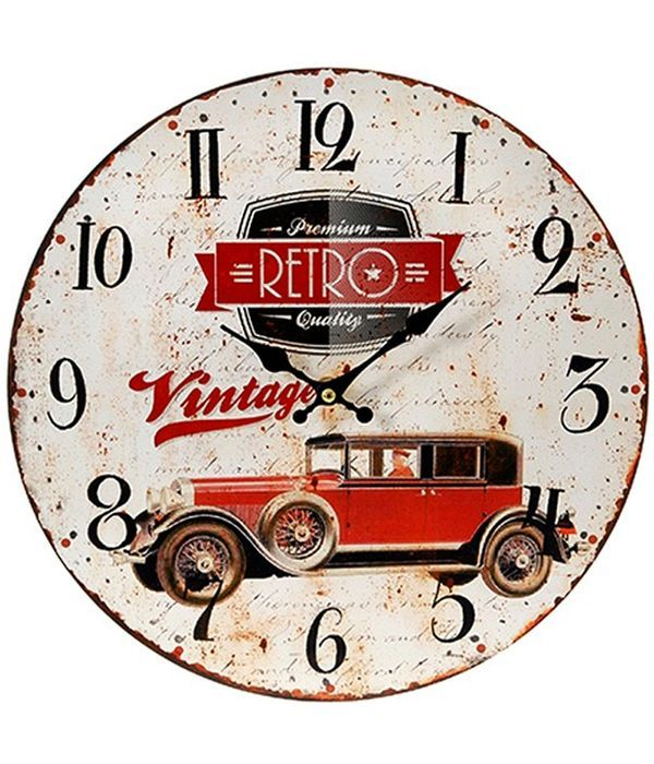 "Wall clock ""RETRO"" with antique car."