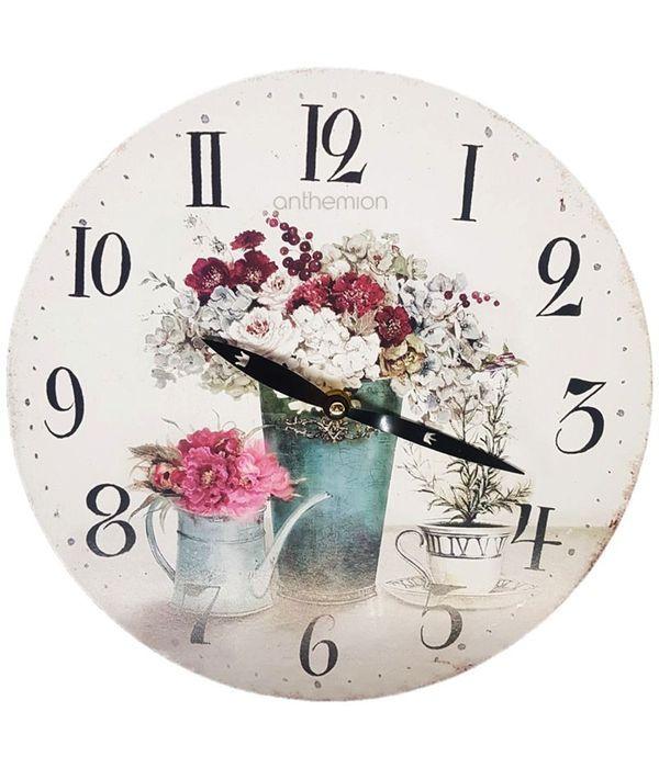 Ρολόι τοίχου VINTAGE με απεικόνιση λουλούδια σε δοχεία