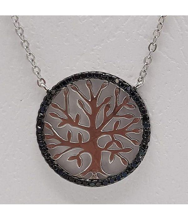 Μενταγιόν δέντρο της ζωής με μαύρα στρας