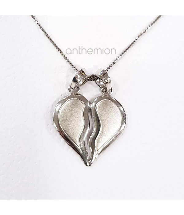 Pendant two half hearts together