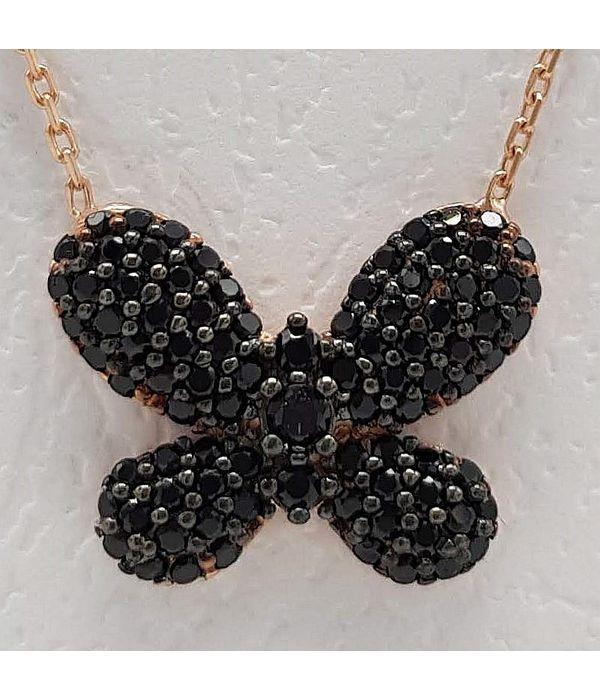 Μενταγιόν πεταλούδα με μαύρα στρασάκια