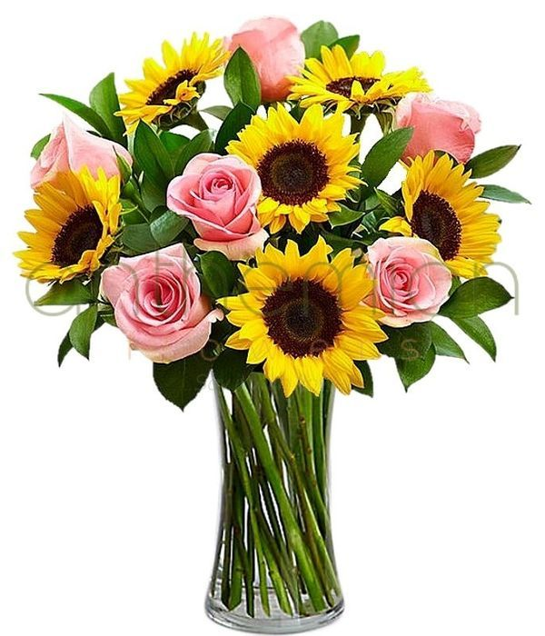 Φωτεινό μπουκέτο με ήλιους και τριαντάφυλλα