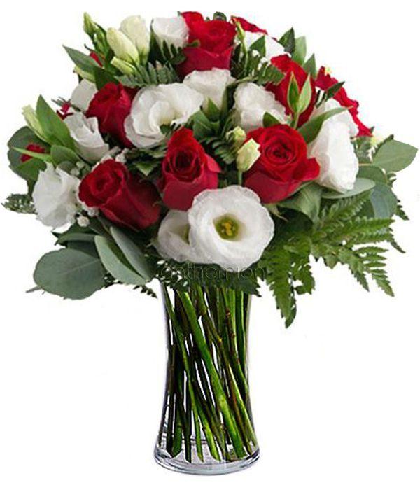 Λυσίανθοι λευκοί με κόκκινα τριαντάφυλλα