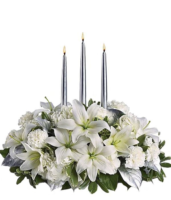 Centerpiece with white carnations and lilies