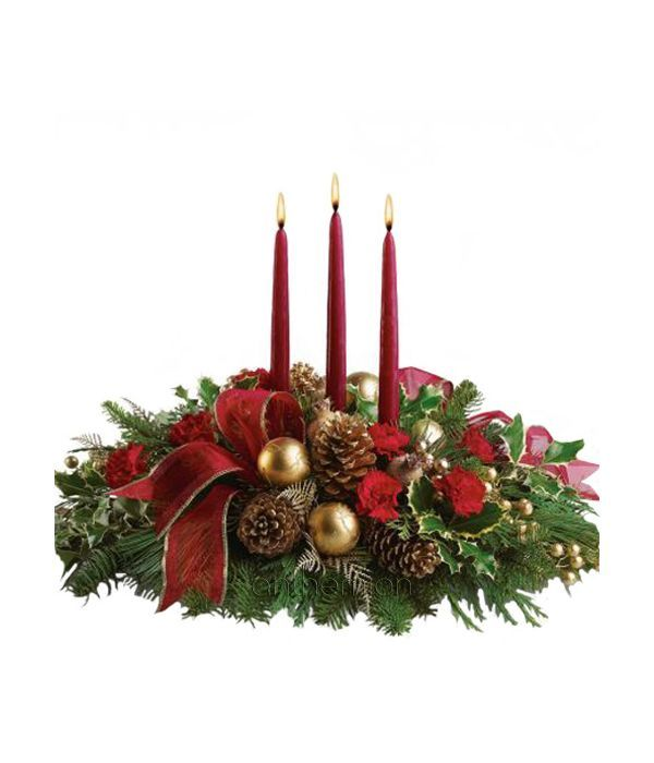 Σύνθεση με Κεριά για το Χριστουγεννιάτικο Τραπέζι