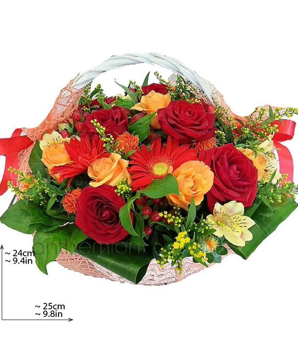 Basket with orange and red flowers
