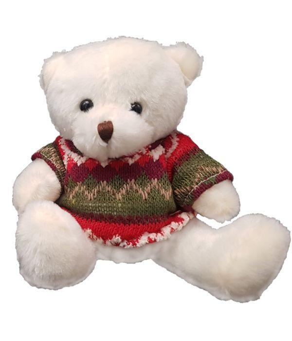 Λευκό Αρκουδάκι με Μπλουζάκι 15 εκ.