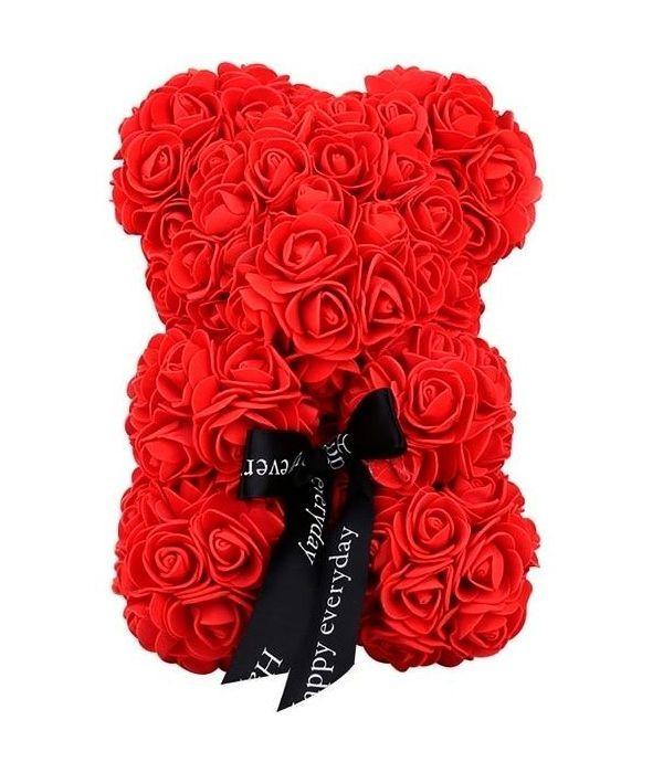 Αρκουδάκι με συνθετικά τριαντάφυλλα 25 εκ.