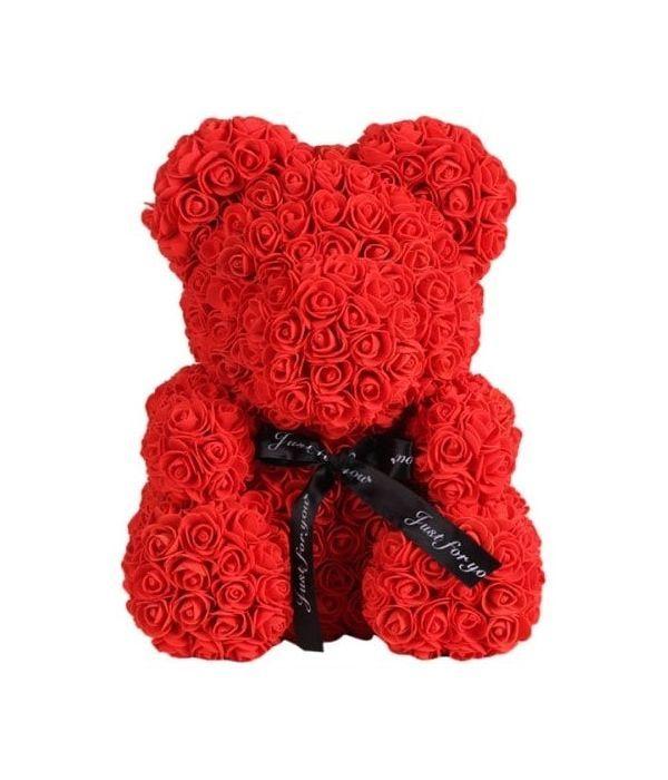 Αρκούδος κόκκινος στα 40 εκ. με συνθετικά τριαντάφυλλα