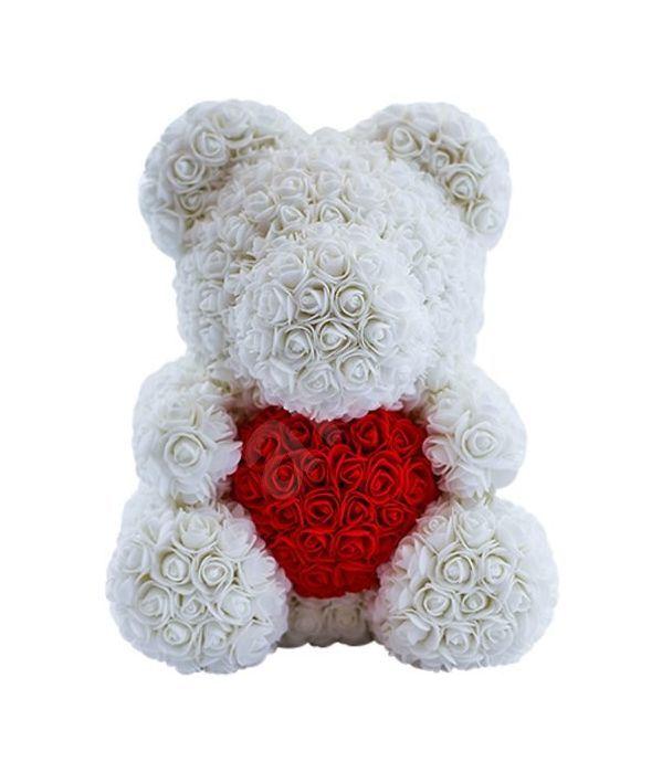 Λευκός Γίγας αρκούδας με συνθετικά τριαντάφυλλα και καρδιά 70εκ
