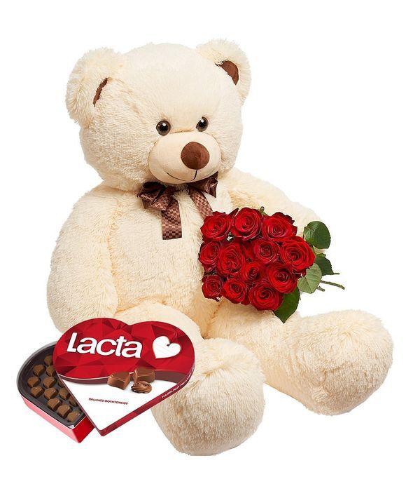 Τριαντάφυλλα, σοκολατάκια και μπεζ αρκούδος