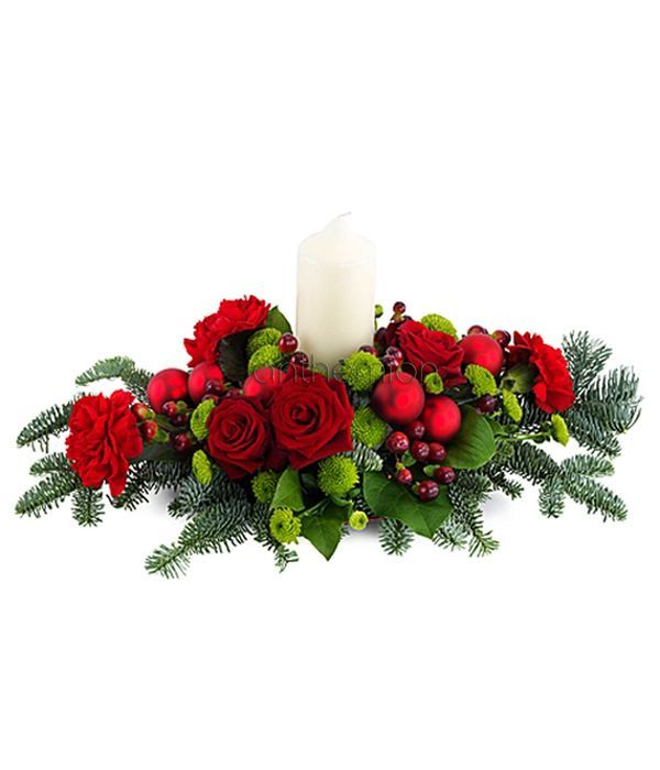 Christmas flower centerpiece with candle