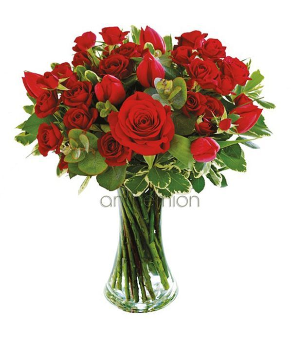 Bouquet with tulips and red roses