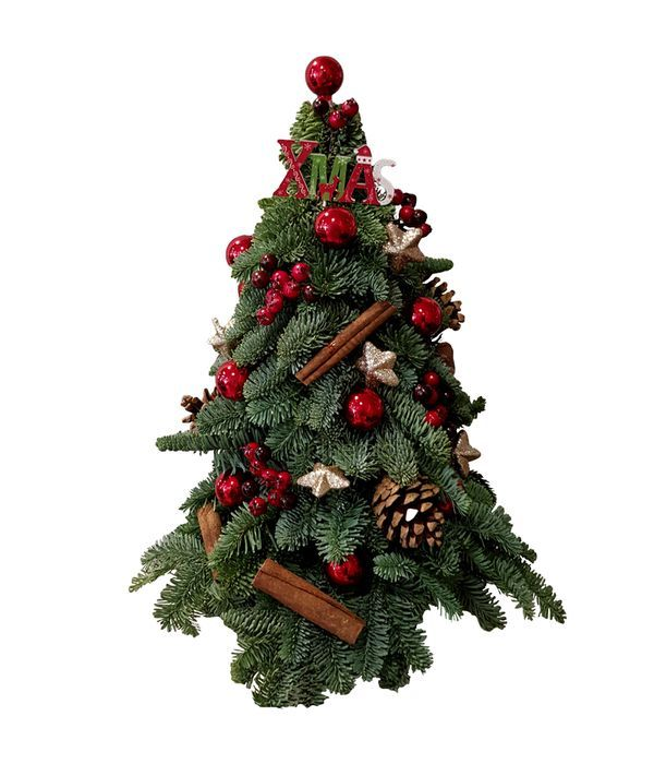Decorated natural Christmas tree (red balls)