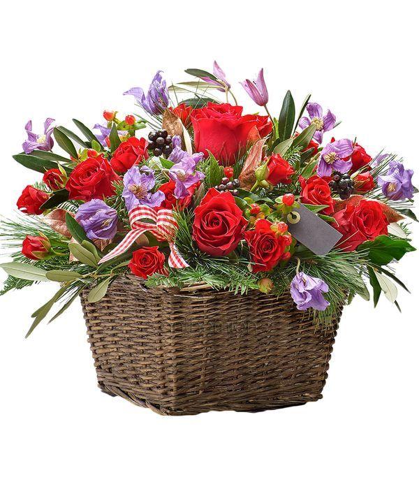 Red and purple basket arrangement