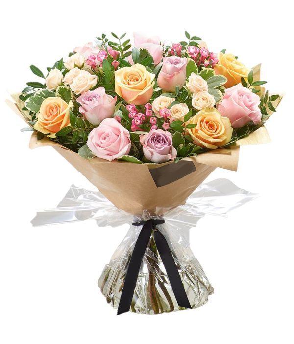 Μπουκέτο με παστέλ τριαντάφυλλα