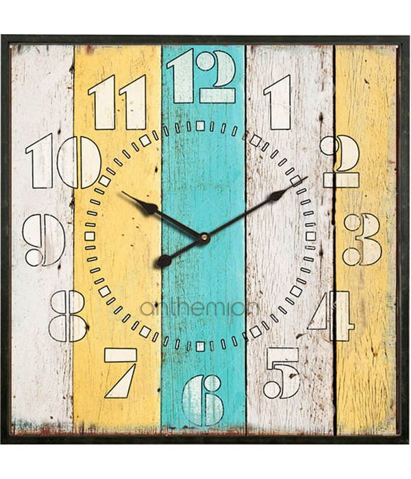 Square wall clock with stripes