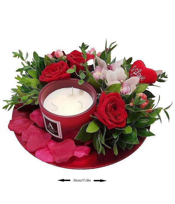 Δίσκος με λουλούδια και αρωματικό κερί