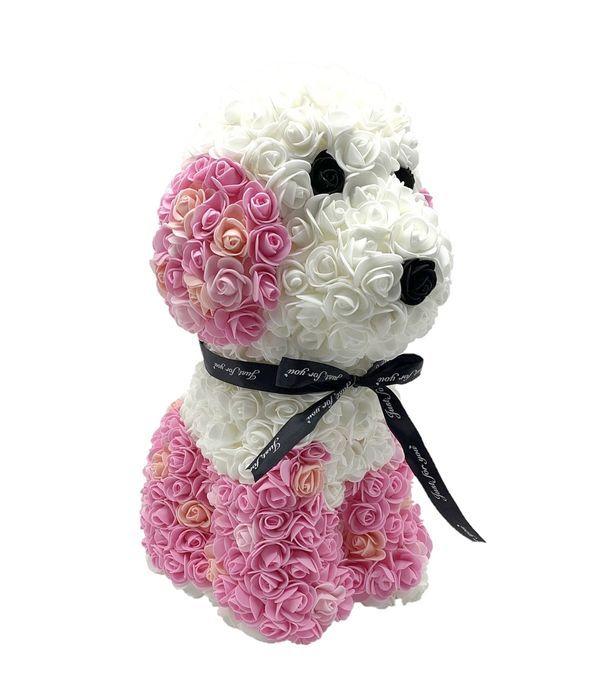 Σκυλάκι από συνθετικά τριαντάφυλλα σε ροζ - λευκό