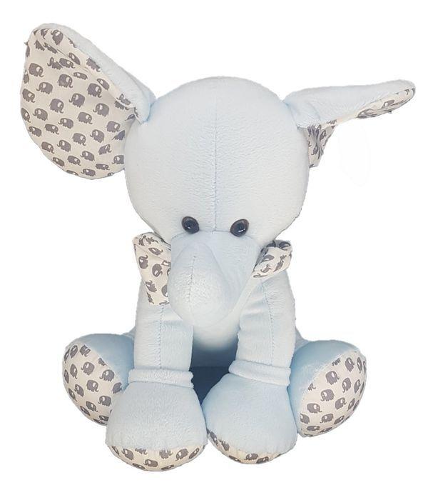 Stuffed light blue elephant