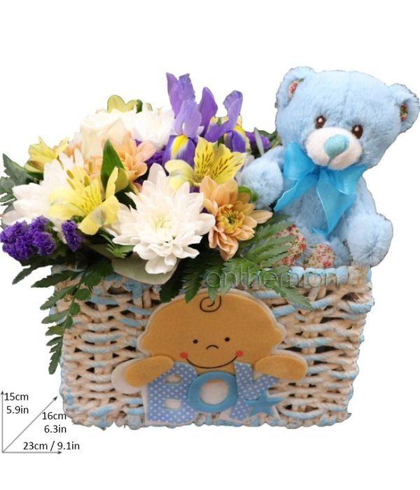 Fresh flowers for newborn baby boy