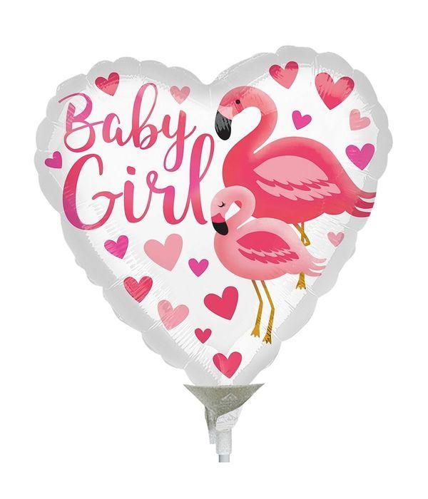 Baby girl heart flamingo 20cm