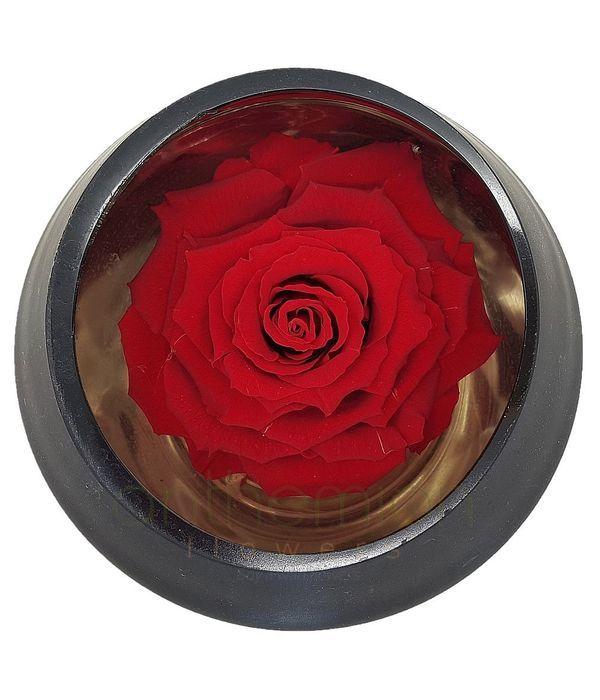 Παντοτινό τριαντάφυλλο σε γυάλινη βάση με καθρέφτη