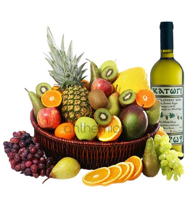 Εξωτικά φρούτα και λευκό κρασί