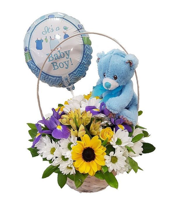 Basket with flowers for baby boy,teddy bear and balloon