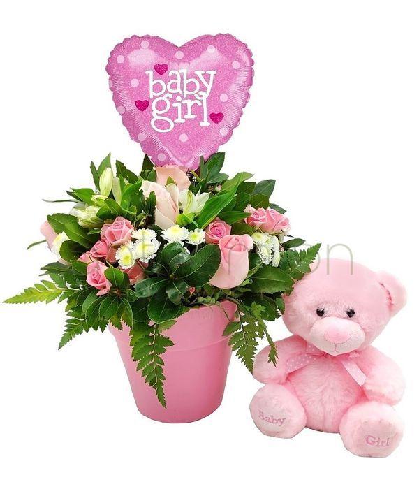 Δώρο με λουλούδια για νεογέννητο κοριτσάκι