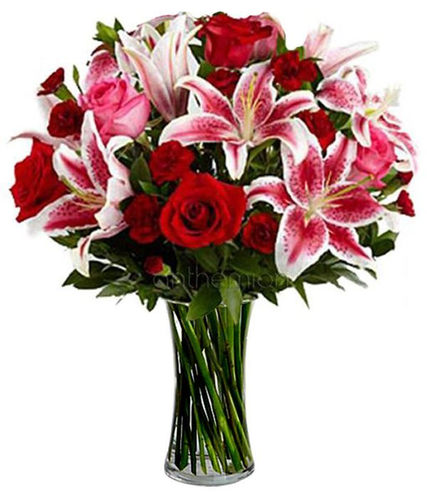 Lilies and roses in red/fouchsia