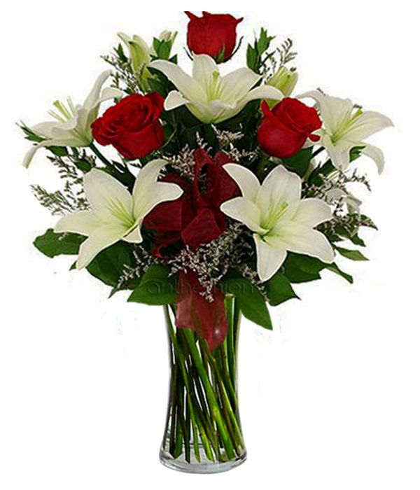 Bouquet with lily oriental and roses